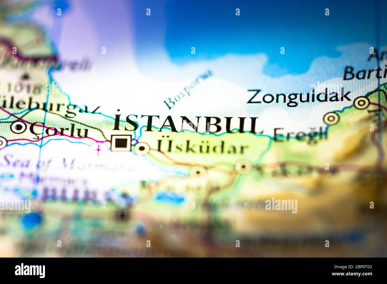 Picture of: Shallow Depth Of Field Focus On Geographical Map Location Of Istanbul Byzantium Constantinople Turkey Asia Continent On Atlas Stock Photo Alamy