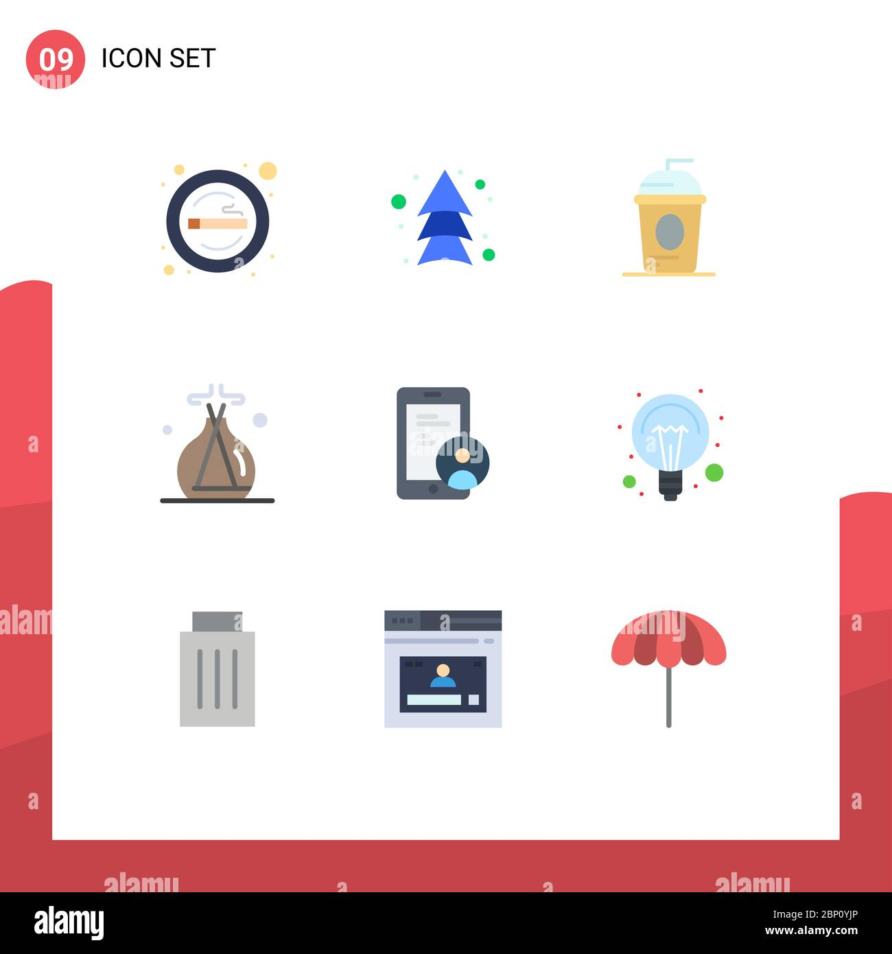 Set of 9 Modern UI Icons Symbols Signs for gdpr, lab green, direction, incense, holiday Editable Vector Design Elements Stock Vector