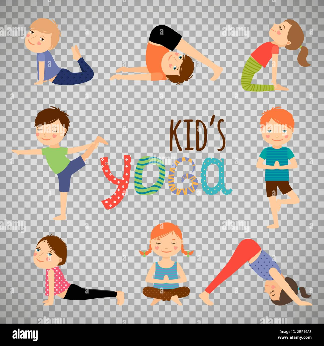 Yoga Kids Set Gymnastics For Children And Healthy Lifestyle Isolated On Transparent Background Vector Illustration Stock Vector Image Art Alamy