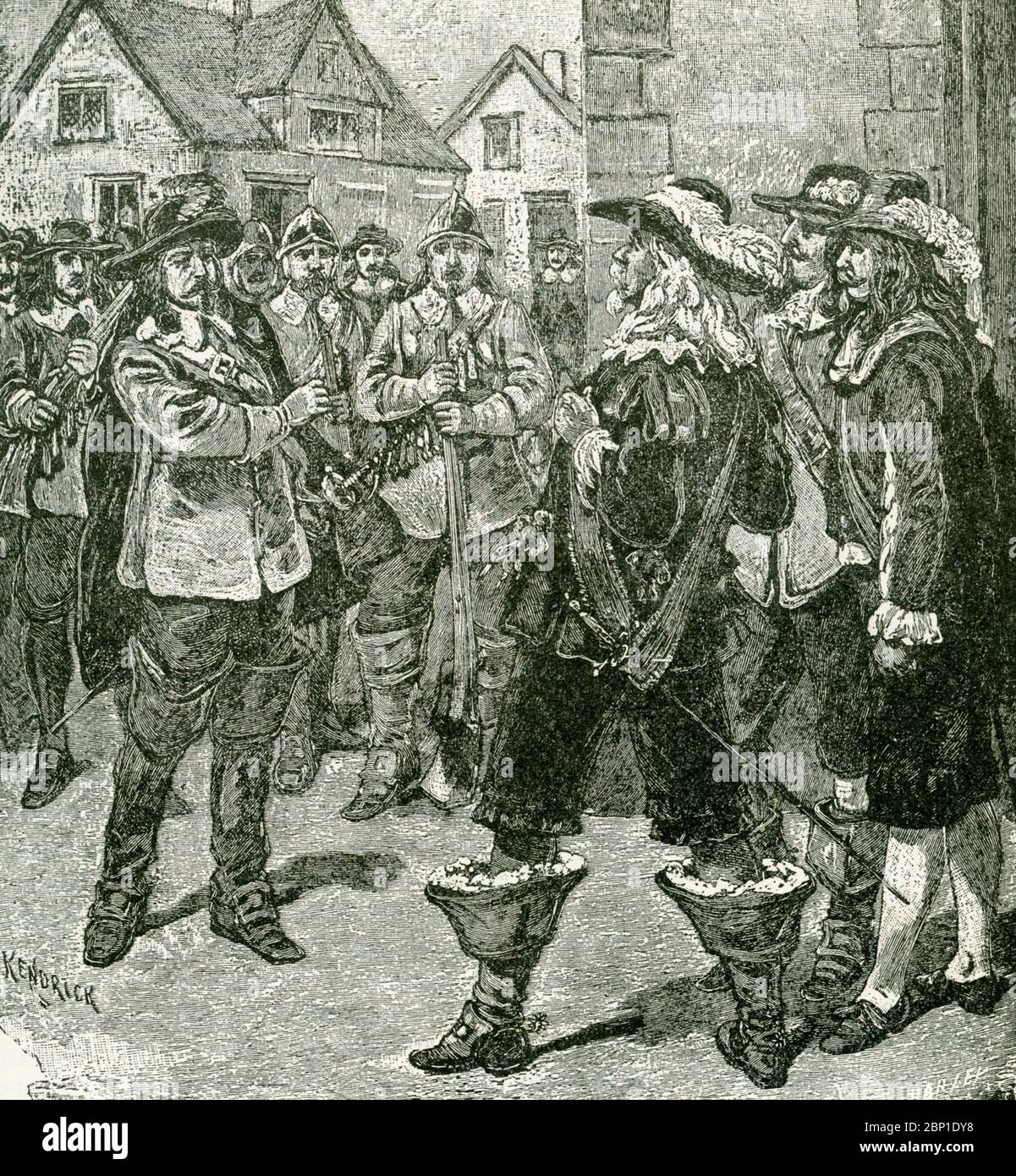 In this 1890s illustration, Governor Sir William Berkeley pardons Nathaniel Bacon but then changes his mind. On June 23, 1676, Nathaniel Bacon returns to Jamestown with 500 men and demands Governor Sir William Berkeley commission him as a general to lead the colony against the Indians. After a standoff, the governor yields to Bacon's demands. Bacon's Rebellion was an armed rebellion that took place 1676-1677 by Virginia settlers led by Nathaniel Bacon against the rule of Governor William Berkeley. Stock Photo