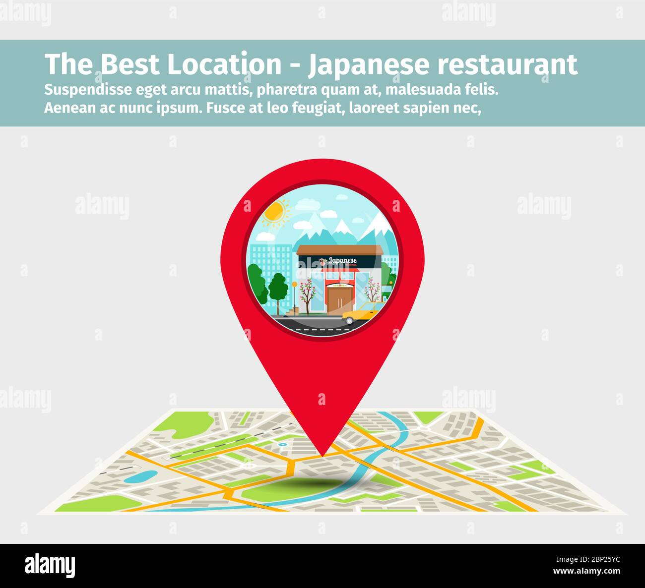 The Best Location Japanese Restaurant Point On The Map With Building Illustration Vector Stock Vector Image Art Alamy