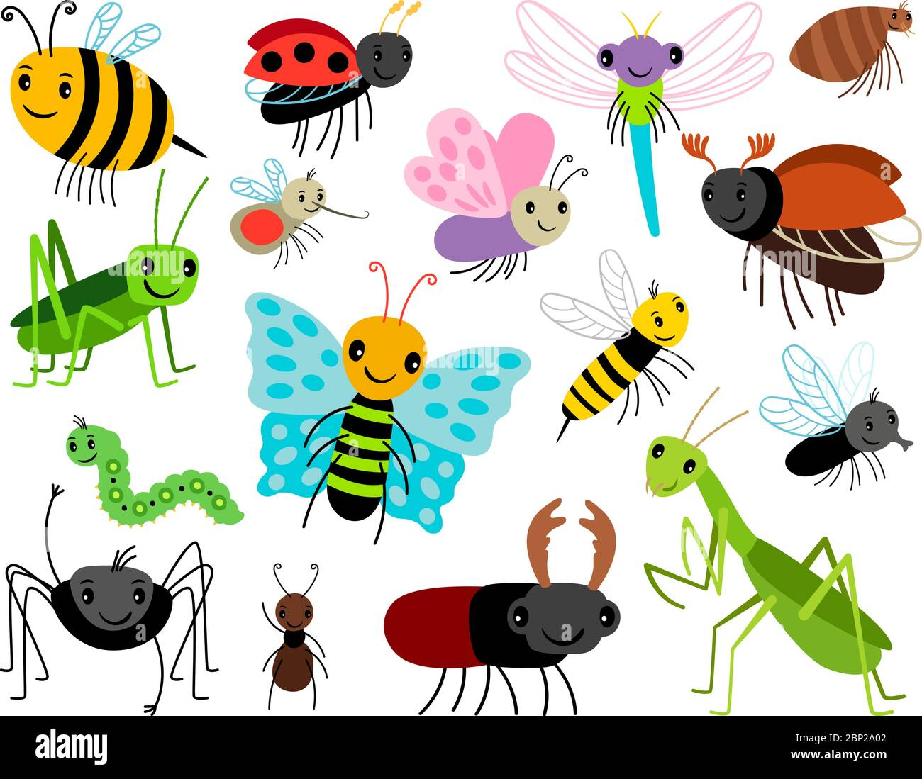 Cartoon insects. Vector cute insect collection, fly and ladybug, mantis and wasp, bug and beetle isolated on white background Stock Vector