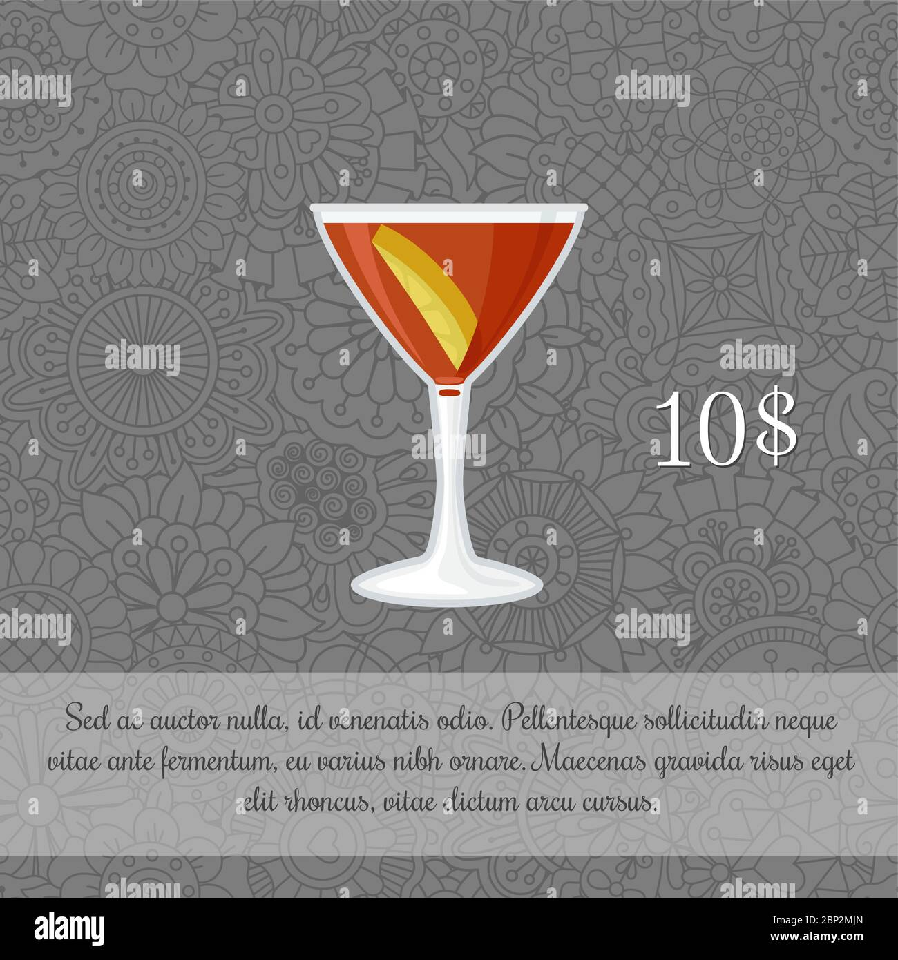 Alcoholic Manhattan Cocktail Card Template With Price And Patterned Background Vector Illustration Stock Vector Image Art Alamy