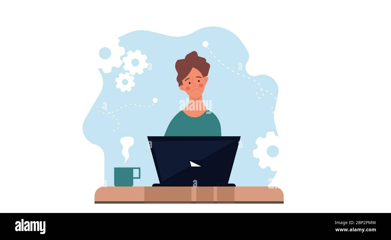 Thinking sad man on laptop vector flat illustration business concept. Professional human solution question problem work. Confusion guy brainstorming h Stock Vector