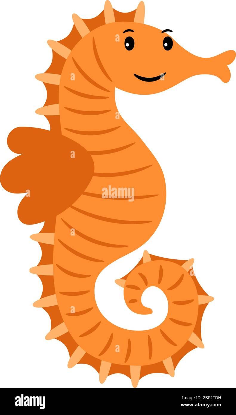 Sea Horse Marine Animal Cartoon Icon Isolated On White Background Vector Illustration Stock Vector Image Art Alamy