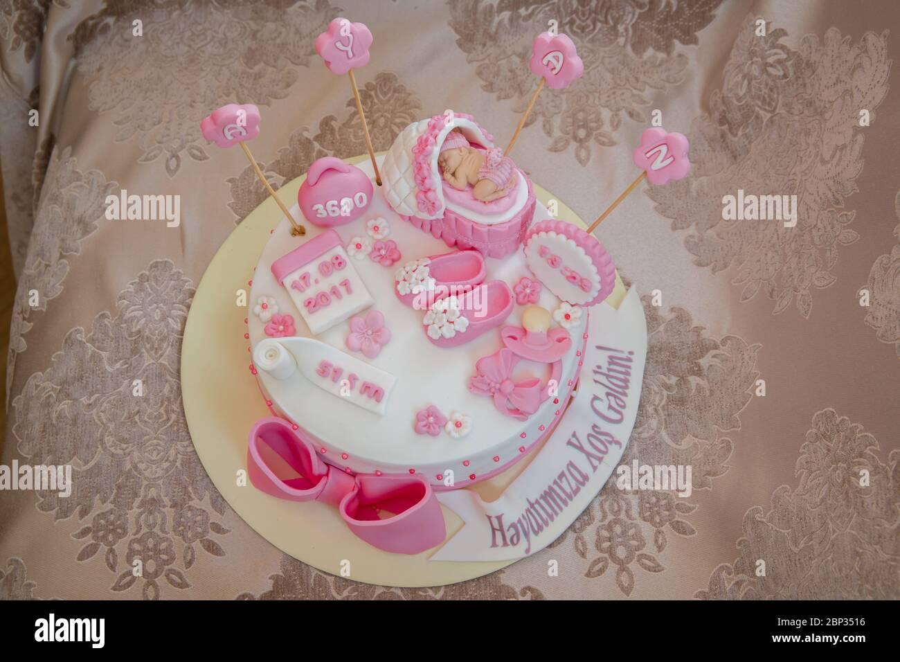 Brilliant Pink And White Theme Cake For Baby Newborn Girl Birthday Cake Birthday Cards Printable Trancafe Filternl
