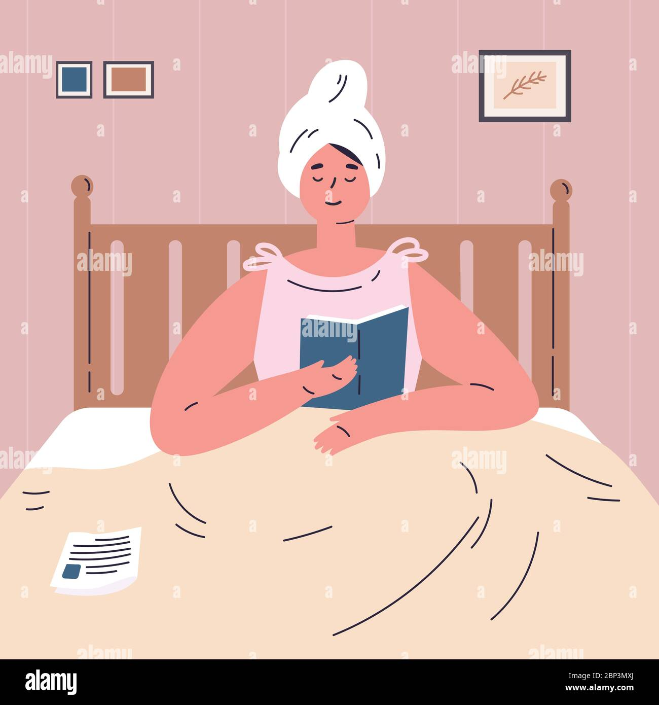 Woman reading a book in bed.Rest at home Stock Vector