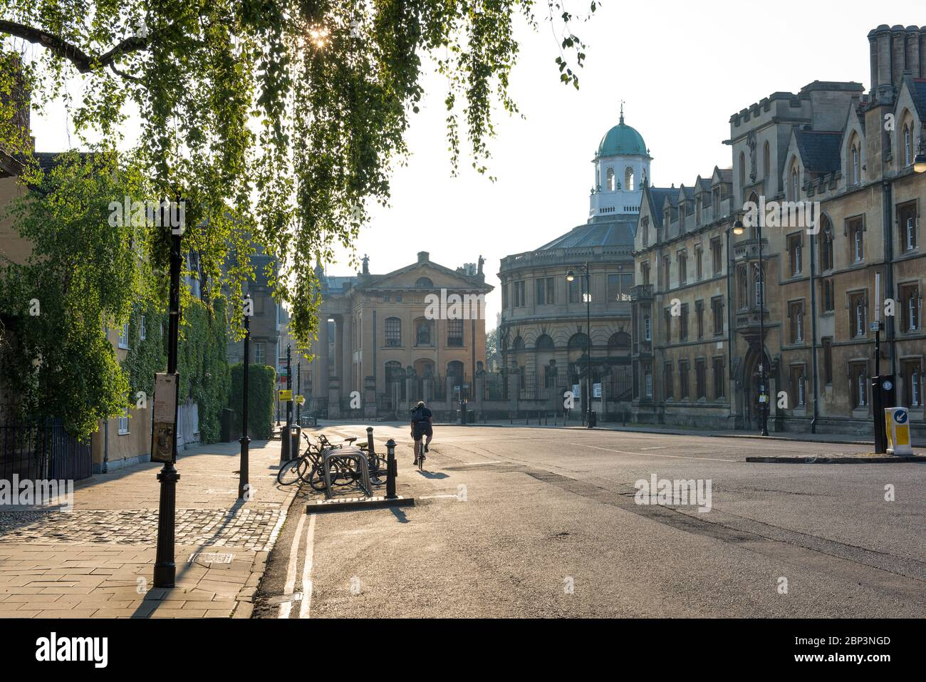 Broad Street Oxford ('The Broad'), early morning, traffic free, with Trinity College, The Clarendon Building, Sheldonian Theatre, Exeter College Stock Photo