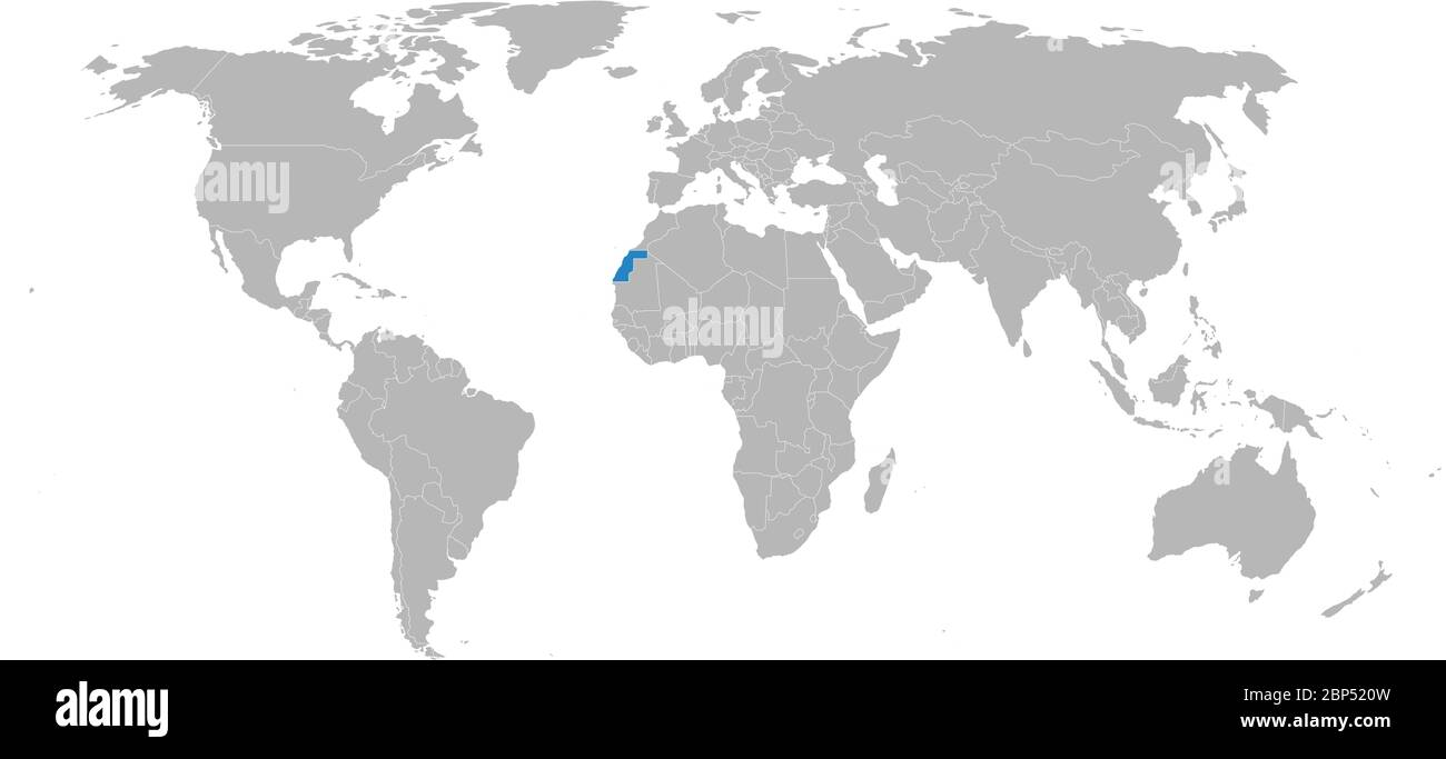 Image of: Western Sahara Highlighted On World Map Light Gray Background African Country Business Concepts Diplomatic Trade Travel And Economic Relations Stock Vector Image Art Alamy