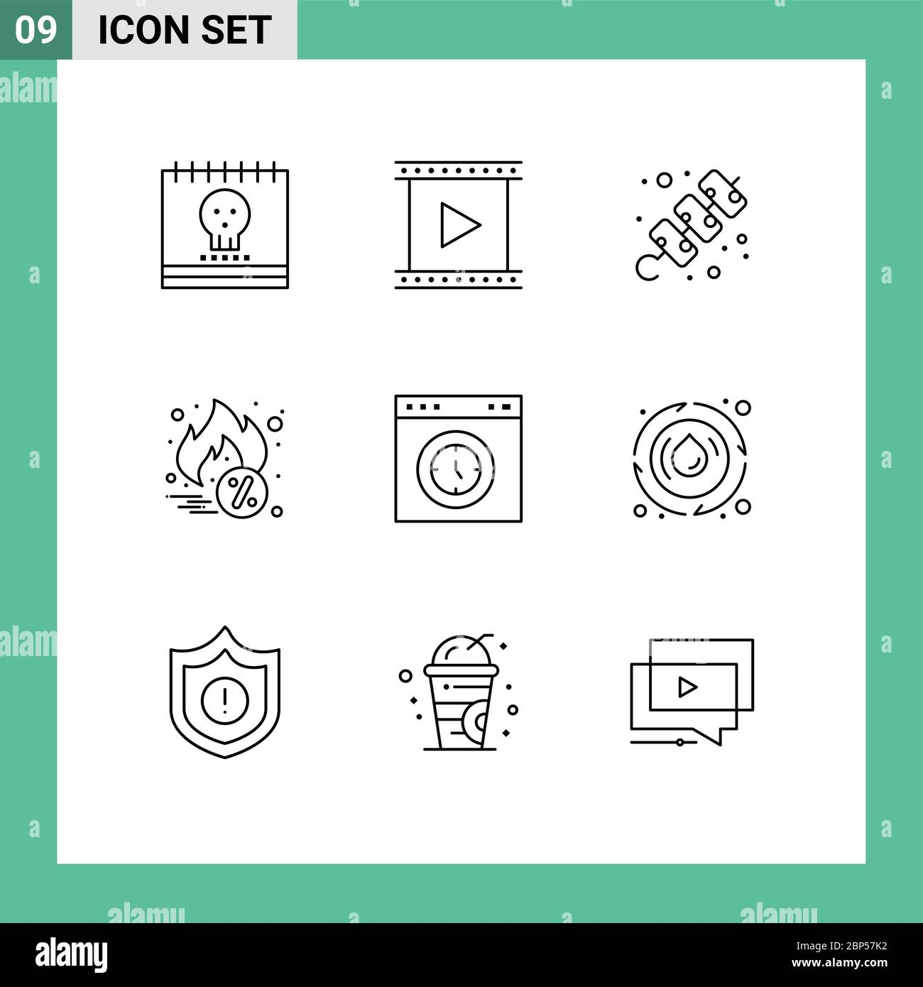Group Of 9 Outlines Signs And Symbols For Browser Cyber Monday Movie Hot Sale Meat Editable Vector Design Elements Stock Vector Image Art Alamy