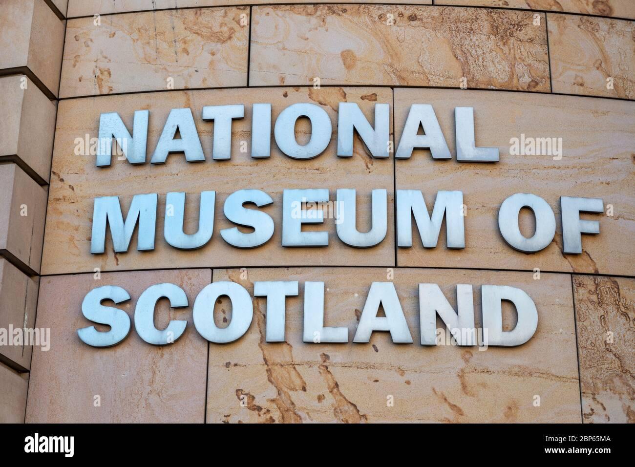 Sign for National Museum of Scotland on Chambers Street in Edinburgh, Scotland, UK Stock Photo