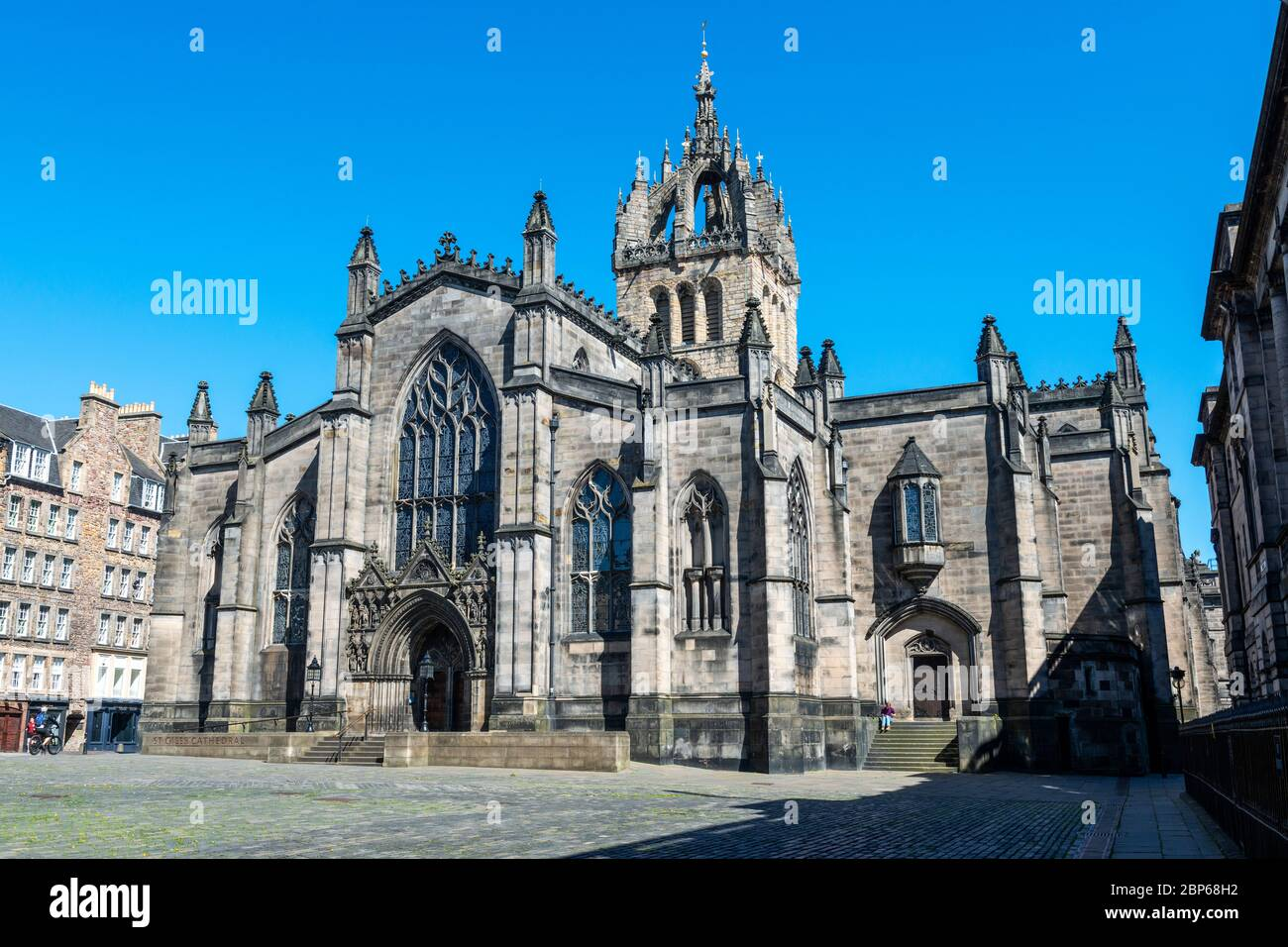 St Giles Cathedral viewed from West Parliament Square in Edinburgh Old Town, Scotland, UK Stock Photo