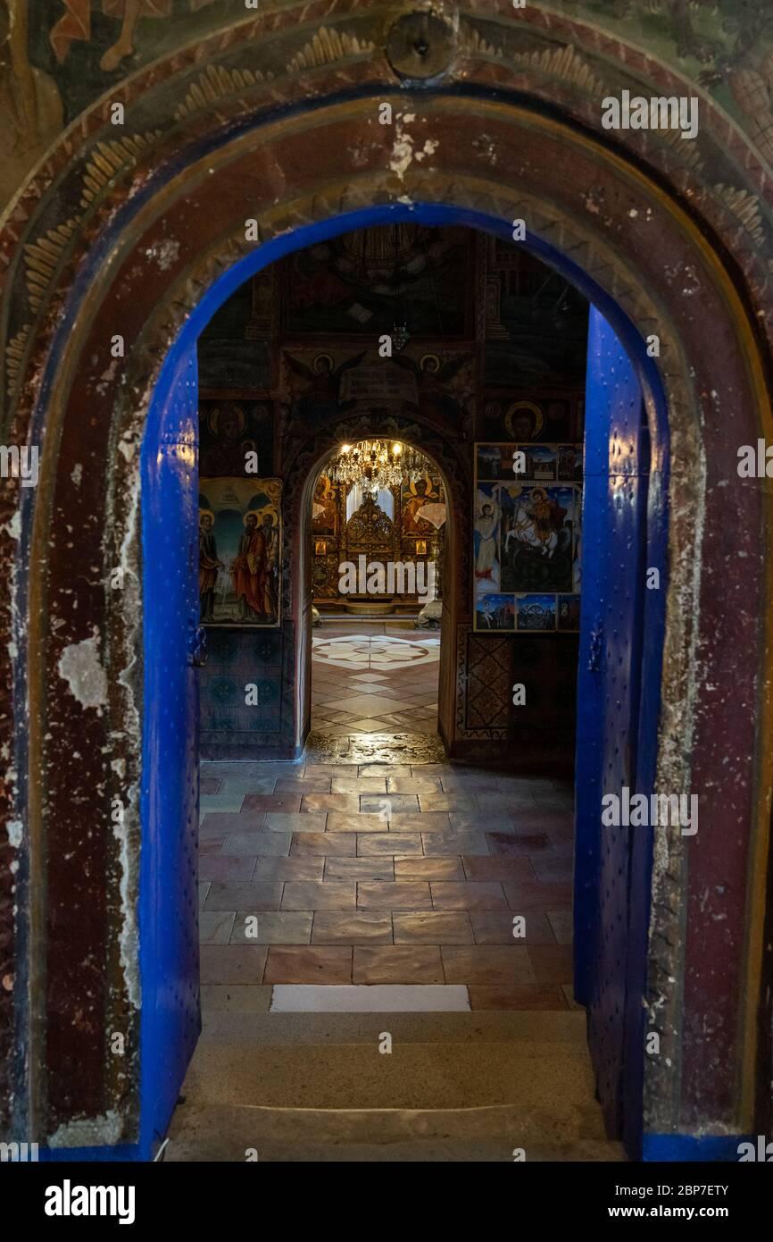VELIKO TARNOVO, BULGARIA - JULY 07, 2019: Interior of the Monastery of the Holy Transfiguration of God. Bulgarian Orthodox Church. Stock Photo