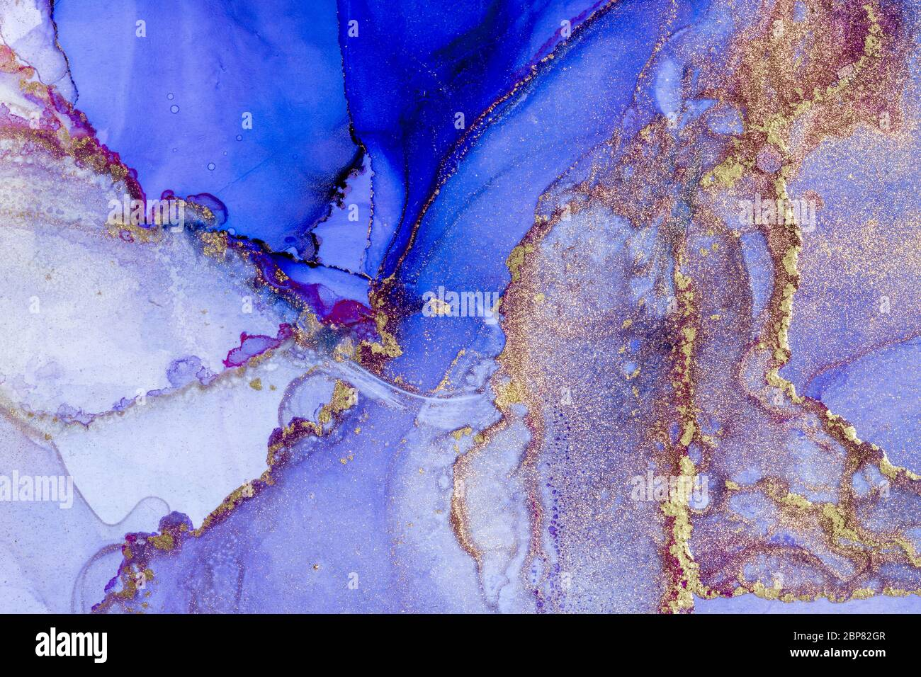 Magic Alcohol Ink Abstract Background Modern Art Abstract Artwork Trendy Blue Pink And Gold Wallpaper Stock Photo Alamy