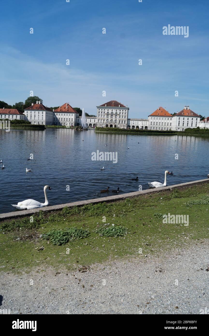 Wasservögel vor Schloss Nymphenburg Stock Photo