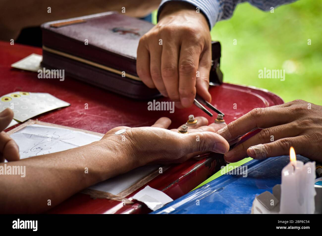 Close-up of fortune teller hand. Ancient healing Stock Photo