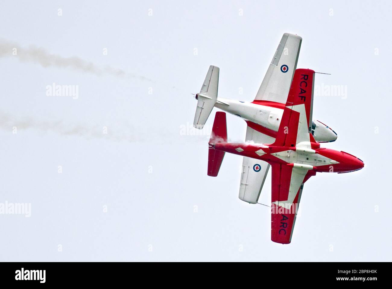 Two Royal Canadian Air Force Snowbirds perform at the September 2018 Airshow London event in London, Ontario, Canada. Stock Photo