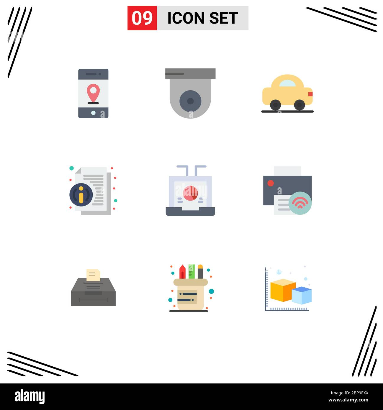 9 Flat Color Concept For Websites Mobile And Apps Laptop Business Car News Info Editable Vector Design Elements Stock Vector Image Art Alamy