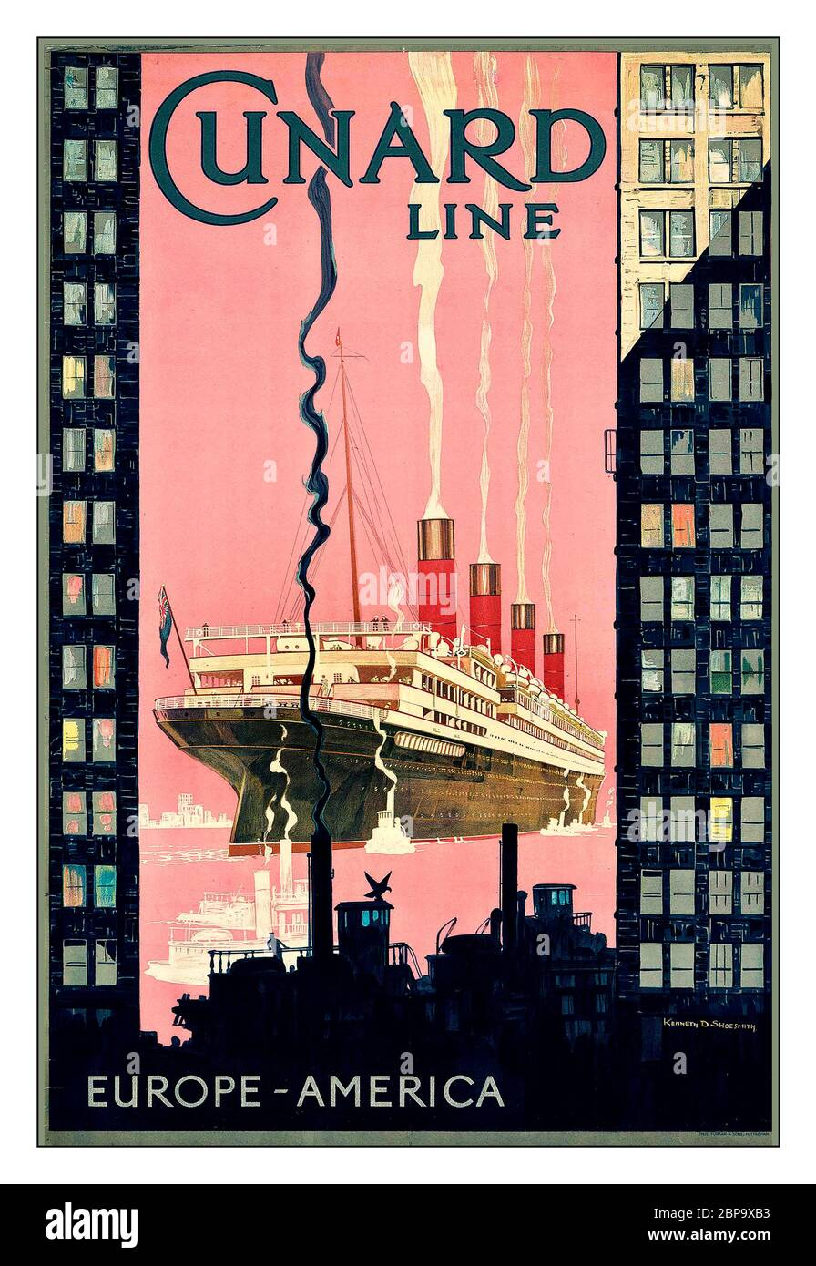 Vintage 1920 S Travel Cruising Poster Cunard Line Europe America Lithograph In Colours C 1925 By Kenneth Denton Shoesmith 1890 1939 Printed By Forman Sons Nottingham Stock Photo Alamy