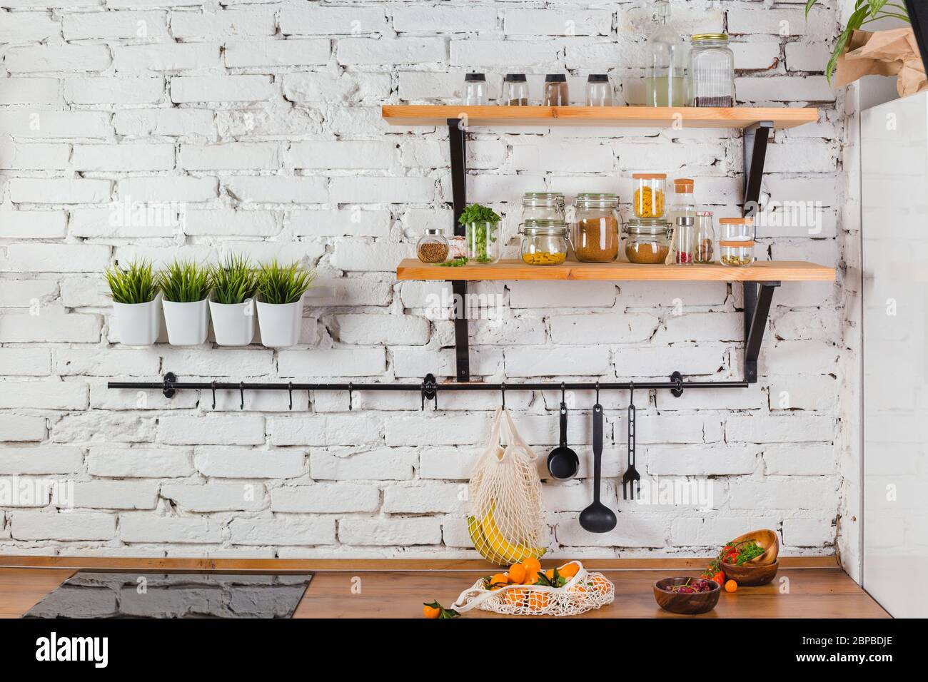 Interior Of Modern Kitchen White Brick Wall Zero Waste Concept Glass Jars Mesh Reuse Bag Stock Photo Alamy