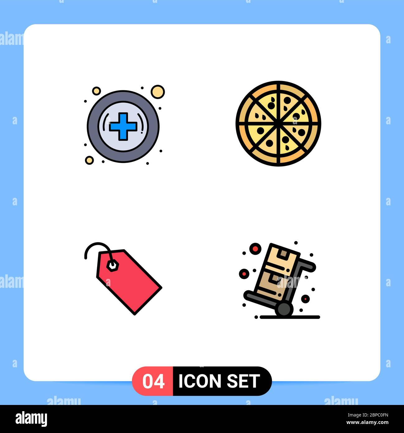 modern set of 4 filledline flat colors pictograph of hospital cyber monday fast food tag sales editable vector design elements stock vector image art alamy alamy