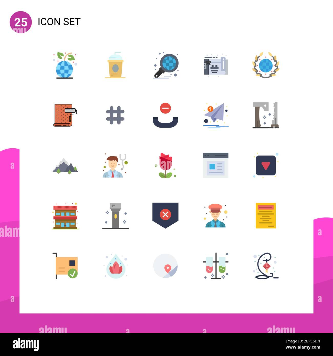 Flat Color Pack of 25 Universal Symbols of earth, party, independece, birthday, graph Editable Vector Design Elements Stock Vector