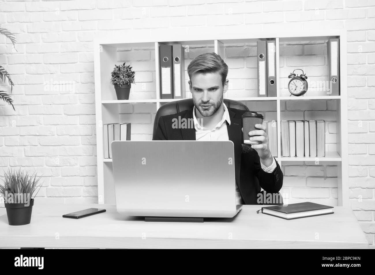 Building Online Business Business Man Work On Computer Professional Business Coach In Office Blogger Virtual Assistant Web Designer Or Developer Online Business Communication Over Coffee Cup Stock Photo Alamy