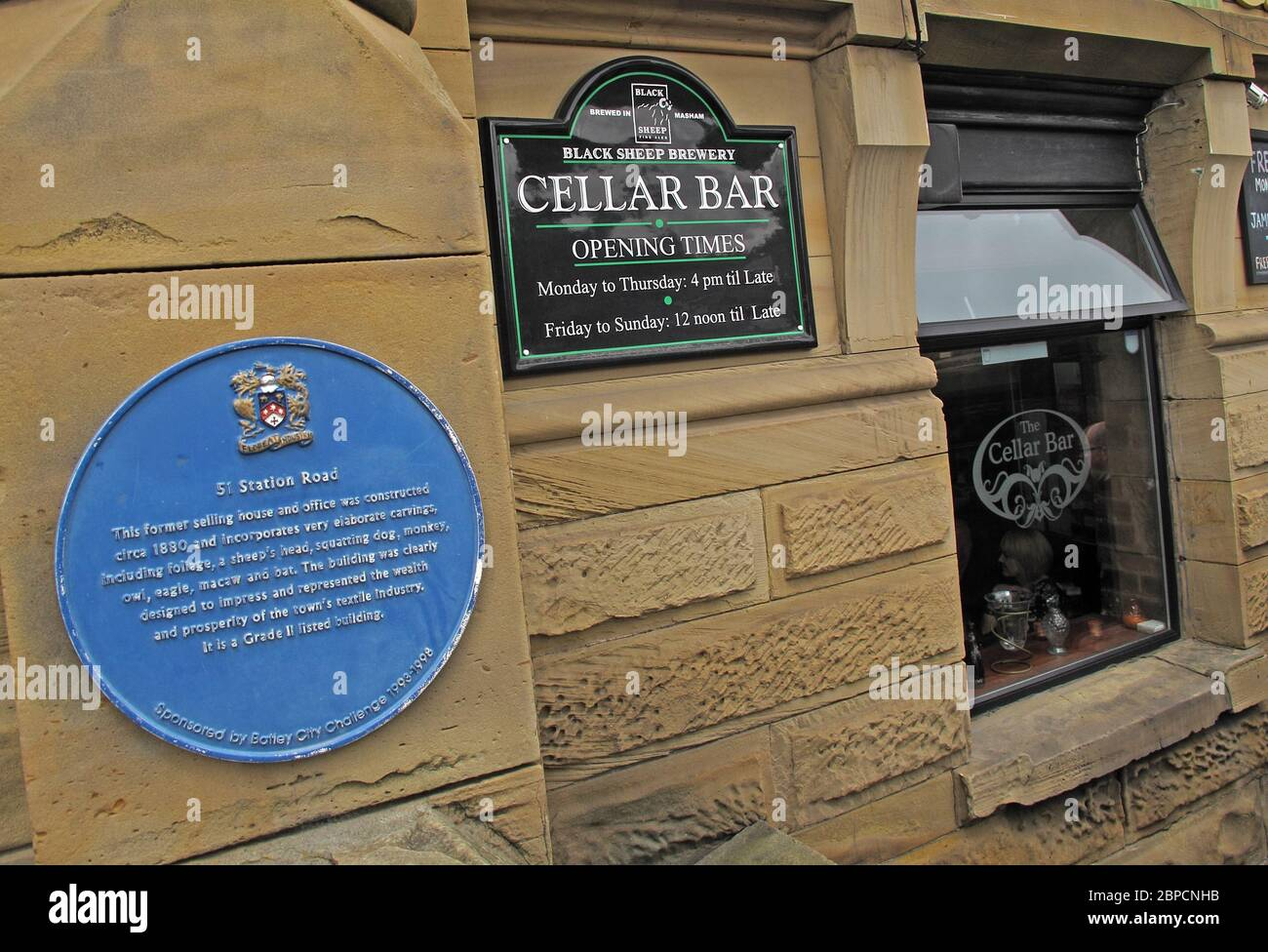 The Cellar Bar,51 Station Road, Batley, West Yorkshire, England, UK,on Transpennine Real Ale Trail Stock Photo
