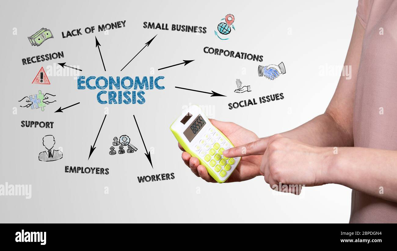 Economic Crisis. Recession, Lack Of Money, Social Issues and Support concept. Chart with keywords and icons Stock Photo