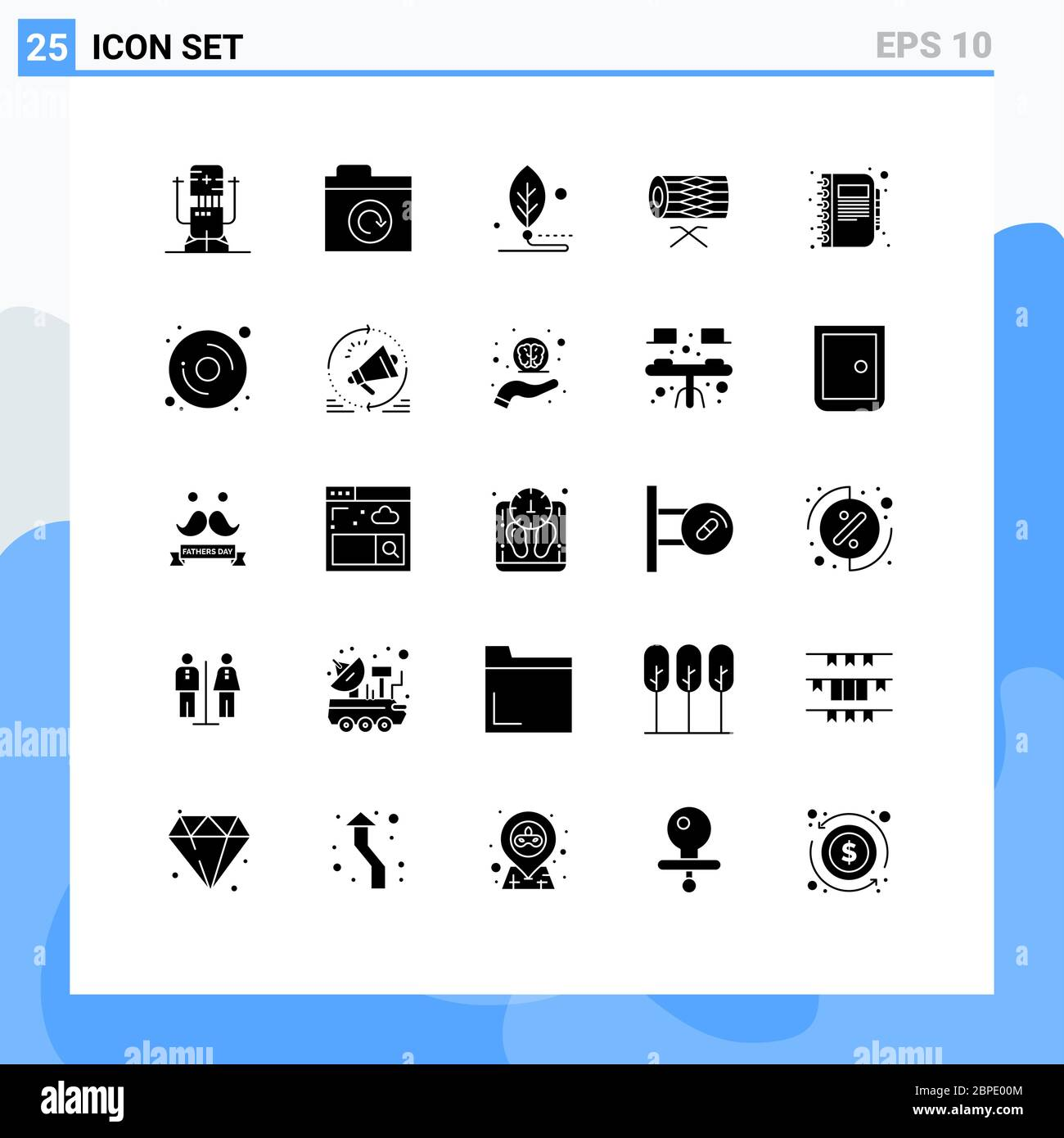 25 User Interface Solid Glyph Pack of modern Signs and Symbols of st, irish, artificial, instrument, life Editable Vector Design Elements Stock Vector