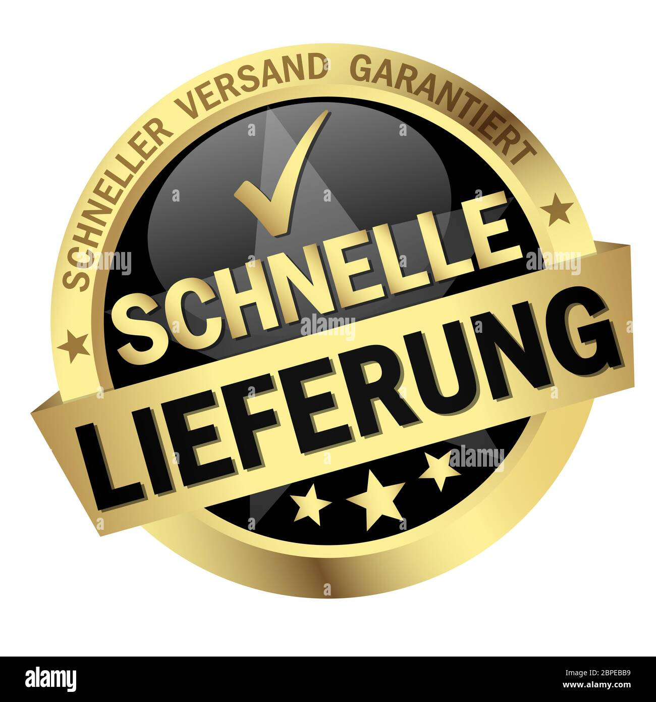 colored button with banner and text - Schnelle Lieferung Stock Photo