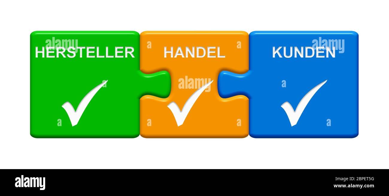 Isolierter Puzzle Button aus drei Teilen mit Häkchen Symbol zeigt Hersteller Handel Kunden Stock Photo