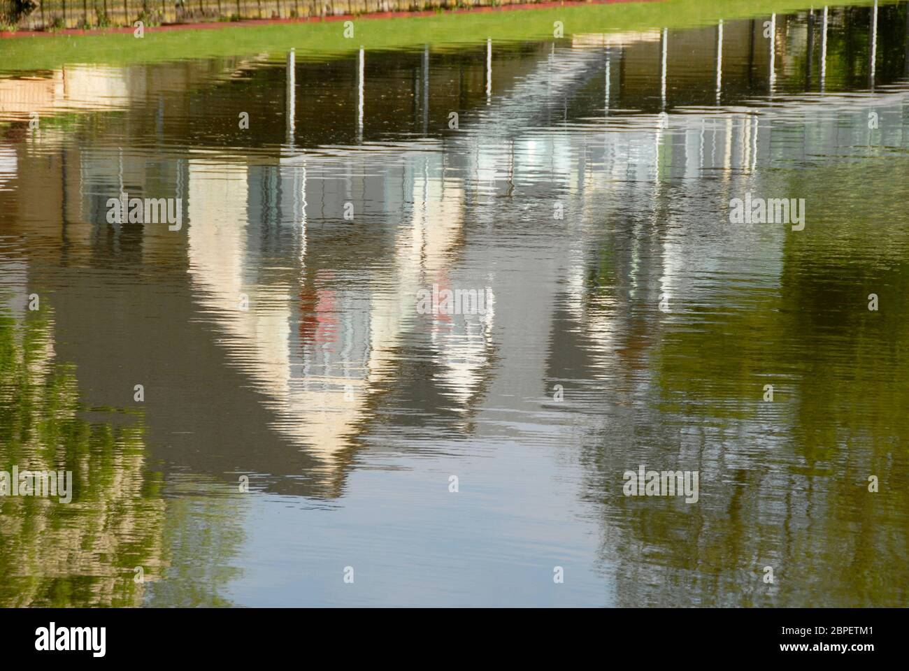 Abstract from soft relection of attractive riverside house in the water of the river Thames, England Stock Photo