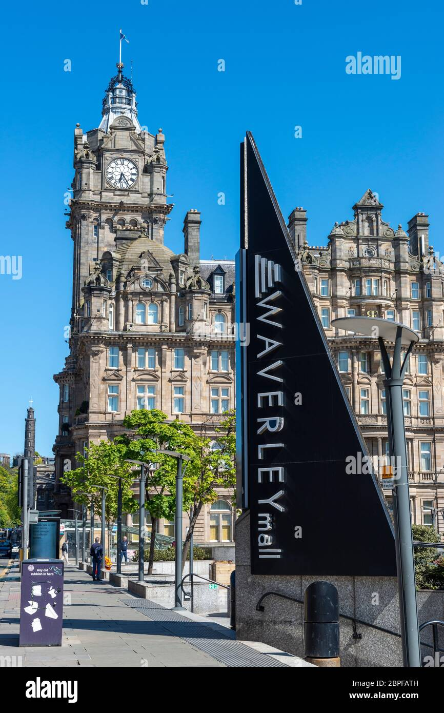 View of Balmoral Hotel with sign for Waverly Mall in foreground on Princes Street in Edinburgh, Scotland, UK Stock Photo
