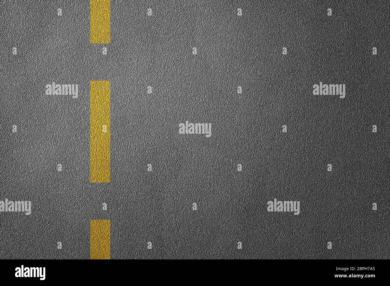 3D Illustration of a road divide with yellow lines pattern and background, textured traffic rules concept Stock Photo
