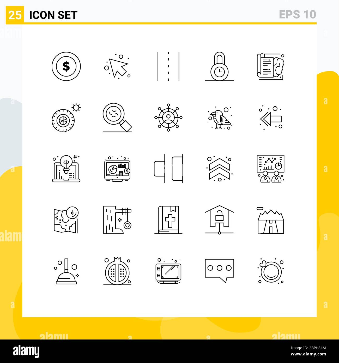 25 Thematic Vector Lines and Editable Symbols of knowledge, book, infrastructure, time, lock Editable Vector Design Elements Stock Vector