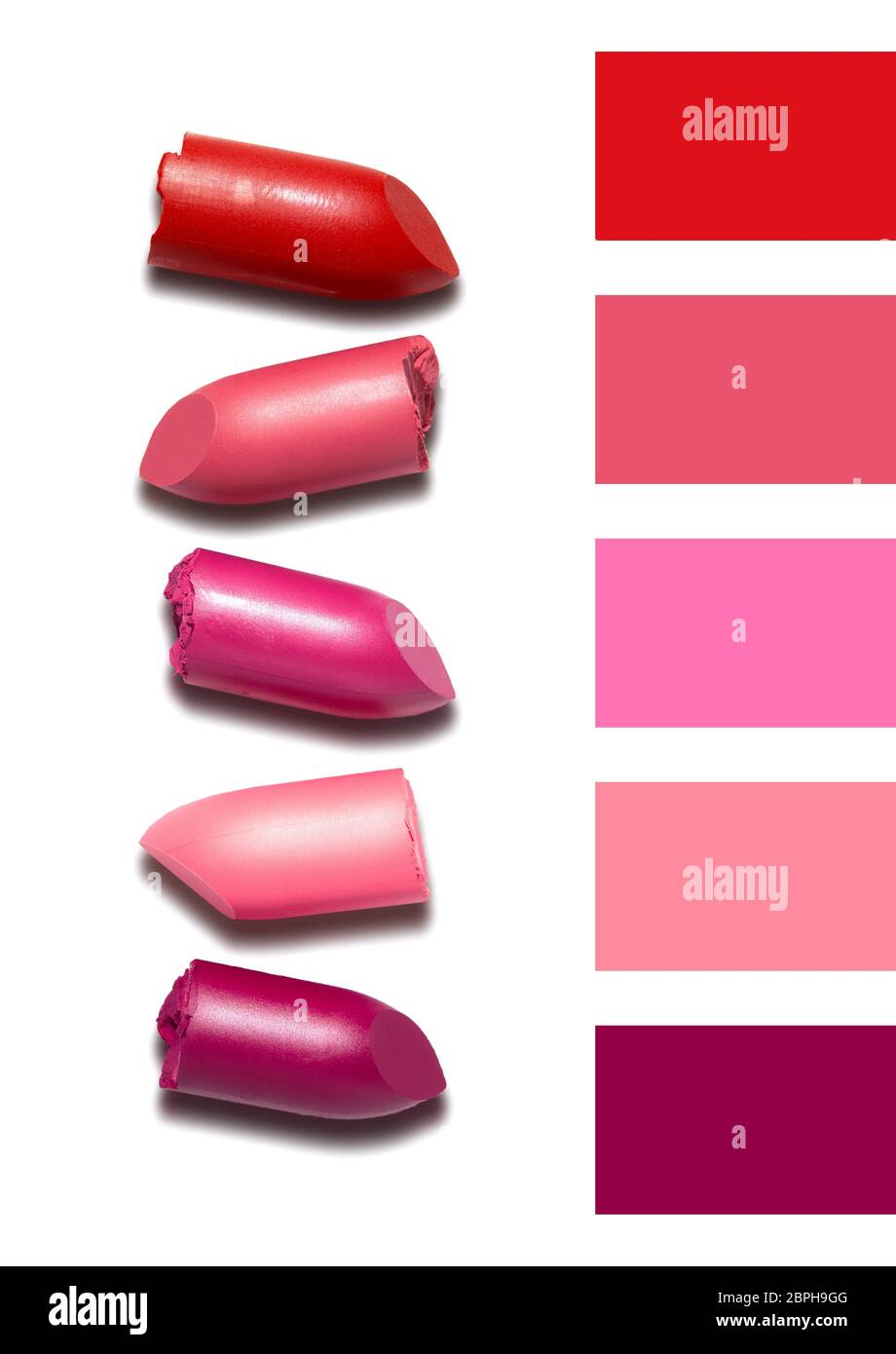 Creative concept photo of cosmetics swatches beauty products lipstick on white background. Stock Photo