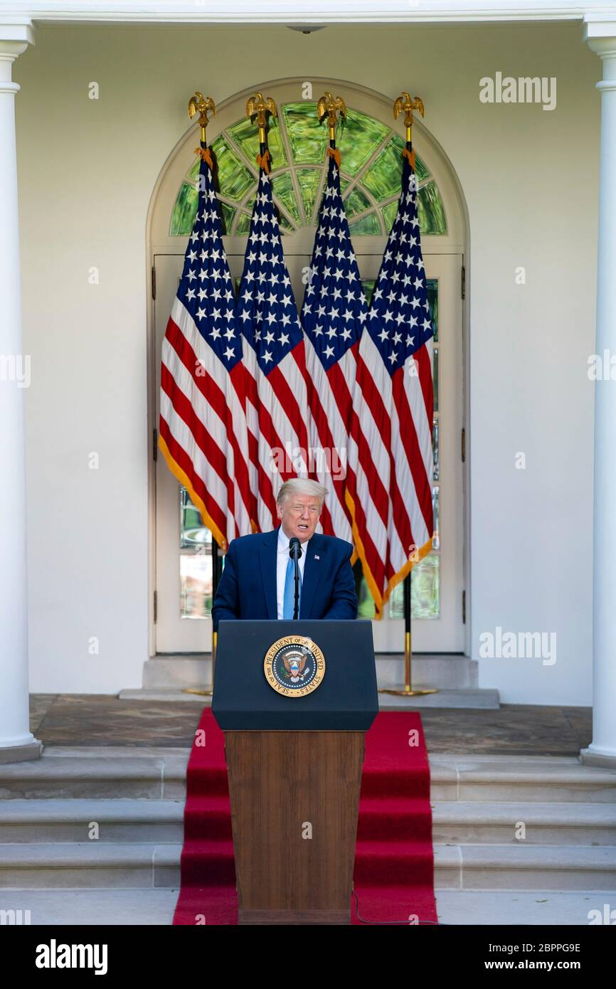 U.S. President Donald Trump delivers remarks during the Presidential Recognition Ceremony: Hard Work, Heroism, and Hope in the Rose Garden of the White House May 15, 2020 in Washington, D.C. The event honored front line workers battling the COVID-19, coronavirus pandemic. Stock Photo