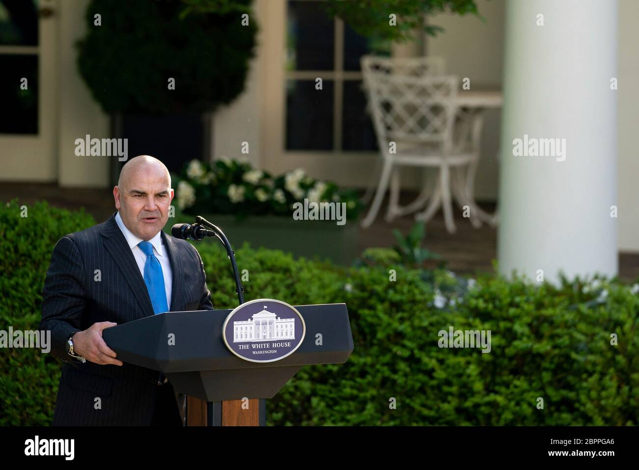 Landlord Clay Young, delivers remarks during the Presidential Recognition Ceremony: Hard Work, Heroism, and Hope in the Rose Garden of the White House May 15, 2020 in Washington, D.C. The event honored front line workers battling the COVID-19, coronavirus pandemic. Stock Photo