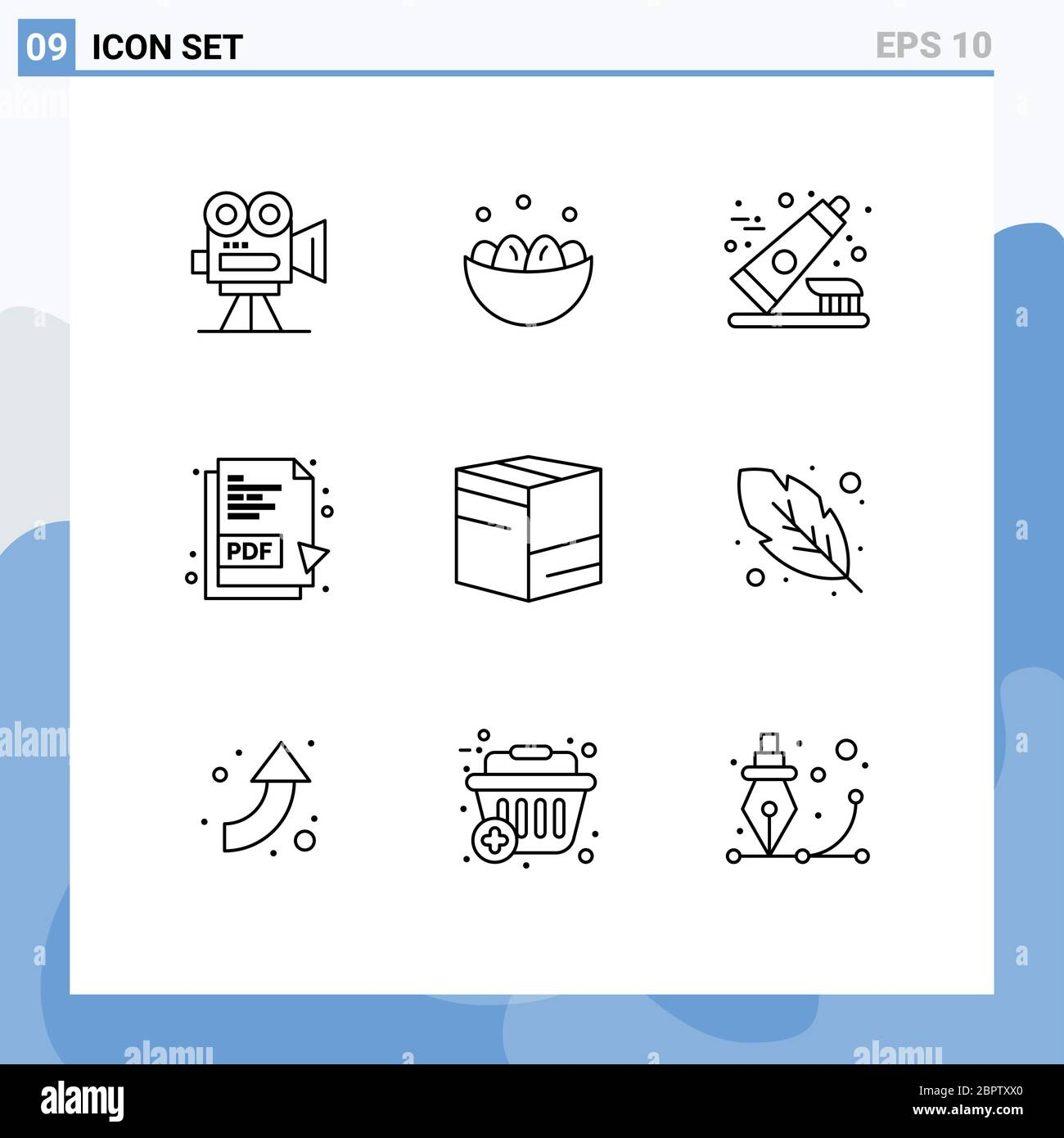 Outline Pack Of 9 Universal Symbols Of Box Pdf Document Egg Pdf Toothpaste Editable Vector Design Elements Stock Vector Image Art Alamy