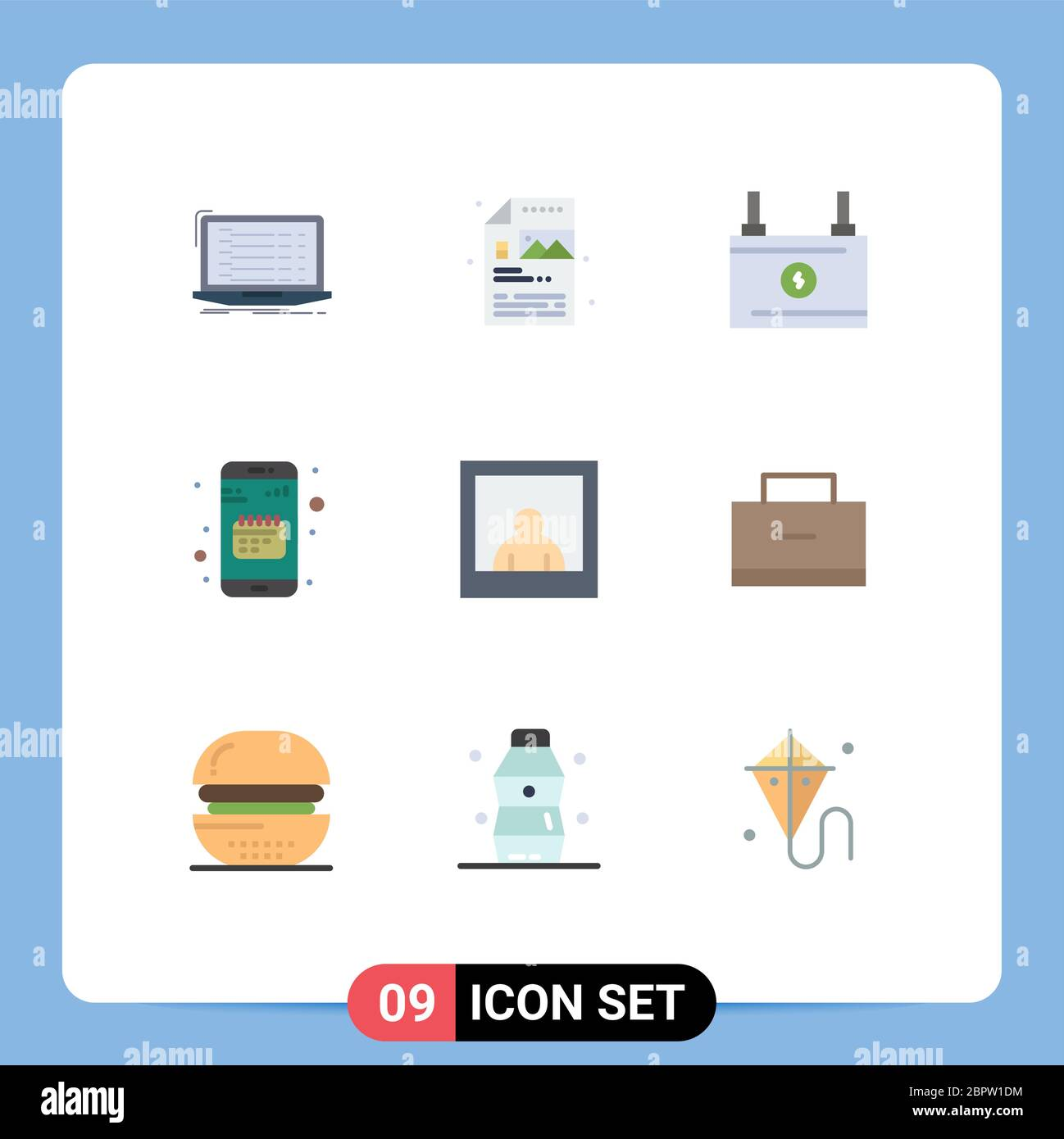 Editable Vector Line Pack of 9 Simple Flat Colors of mobile, calendar, image, app, power Editable Vector Design Elements Stock Vector