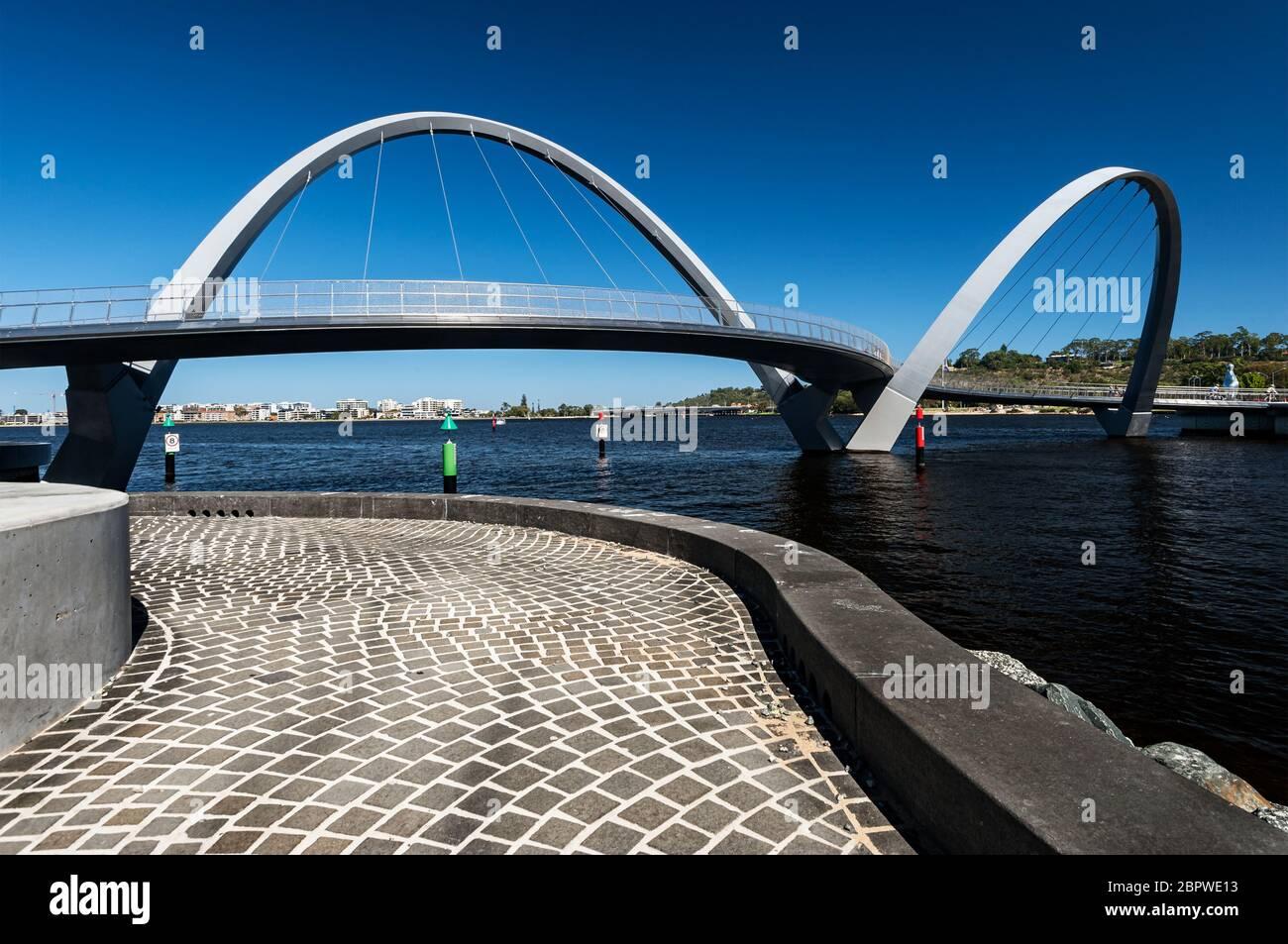Elizabeth Quay Bridge in Central Perth. Stock Photo