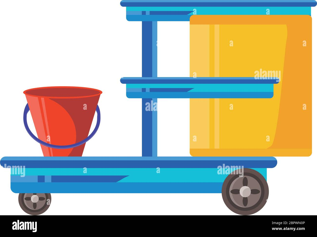 cleaning cart on white background vector illustration design Stock Vector