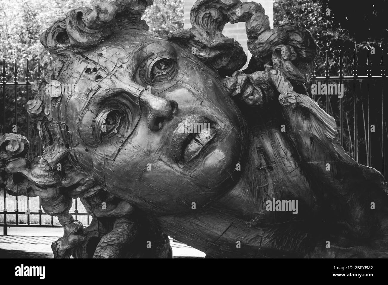 Statue face in black and white at the art museum of the Masone Labyrinth in Fontanellato - Parma - province - italy  Stock Photo