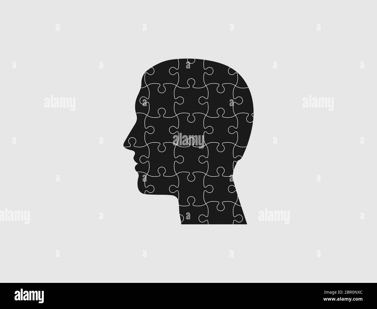 Human head, puzzle icon. Vector illustration, flat design. Stock Vector