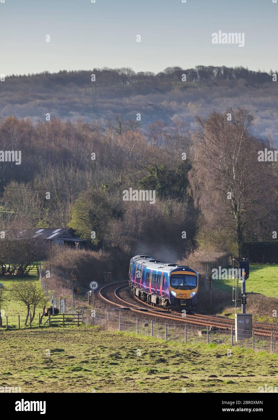 First Transpennine Express Siemens Desiro class 185 train 185102 passing Waterslack , Lancashire. Stock Photo