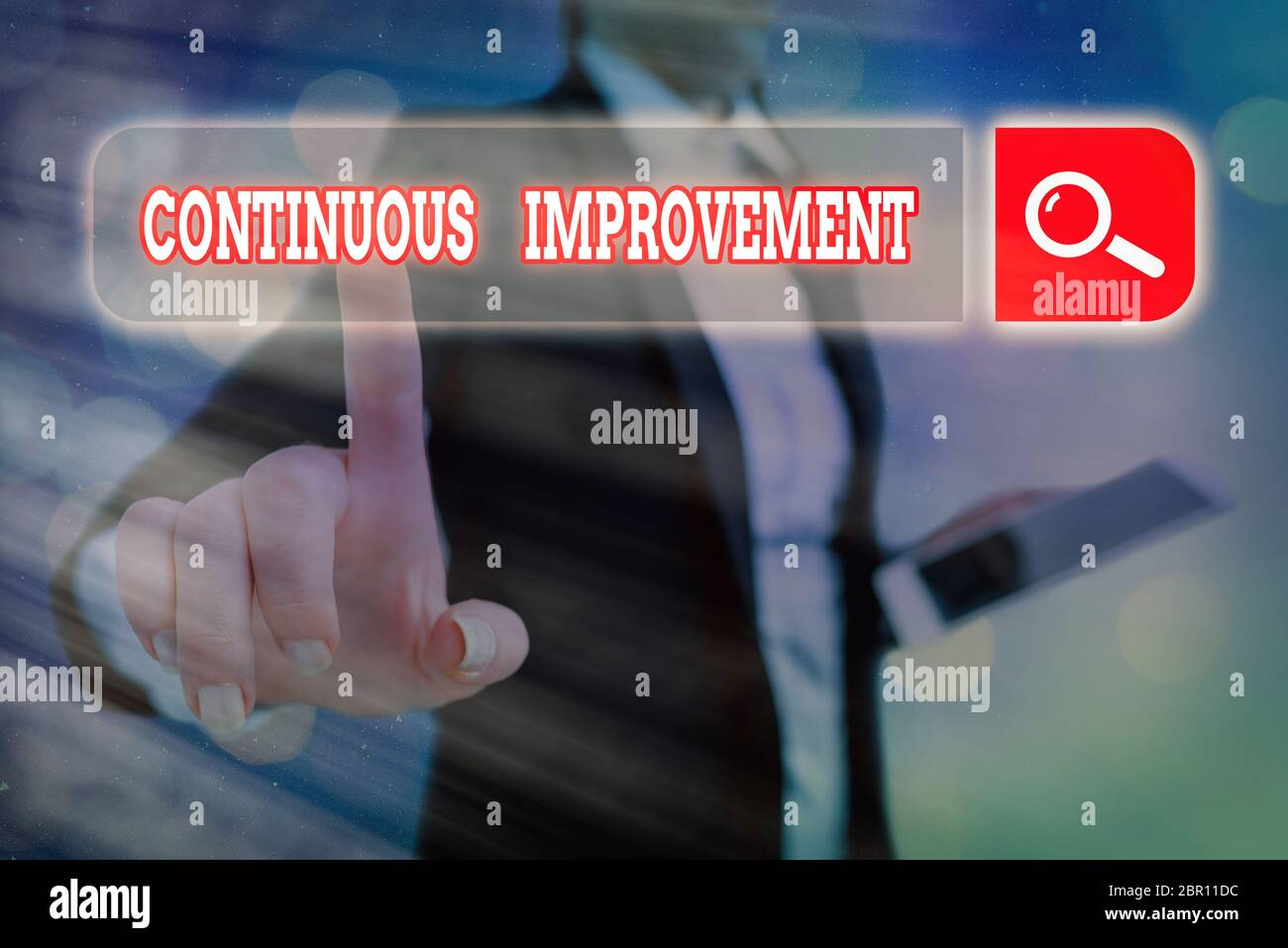 Conceptual hand writing showing Continuous Improvement. Concept meaning ongoing effort to improve products or processes Stock Photo