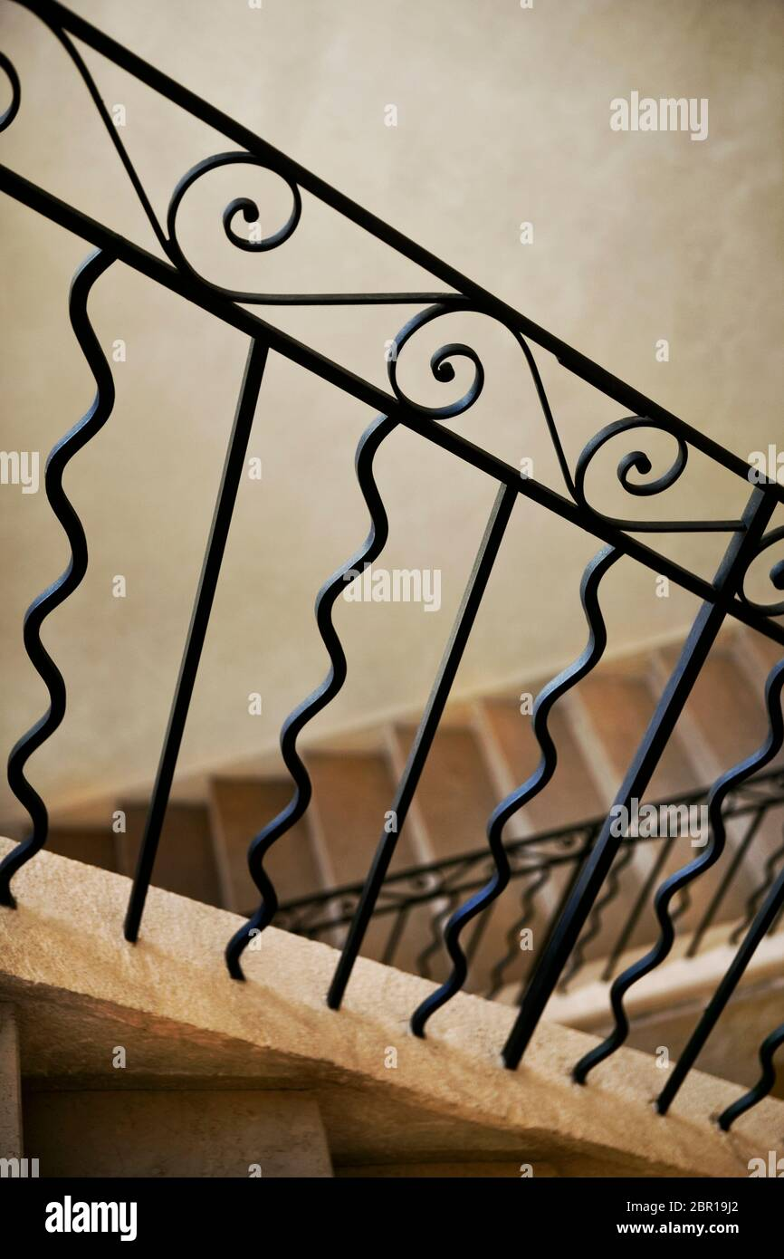 Home Interior And Wrought Iron Stair Railing Stock Photo Alamy