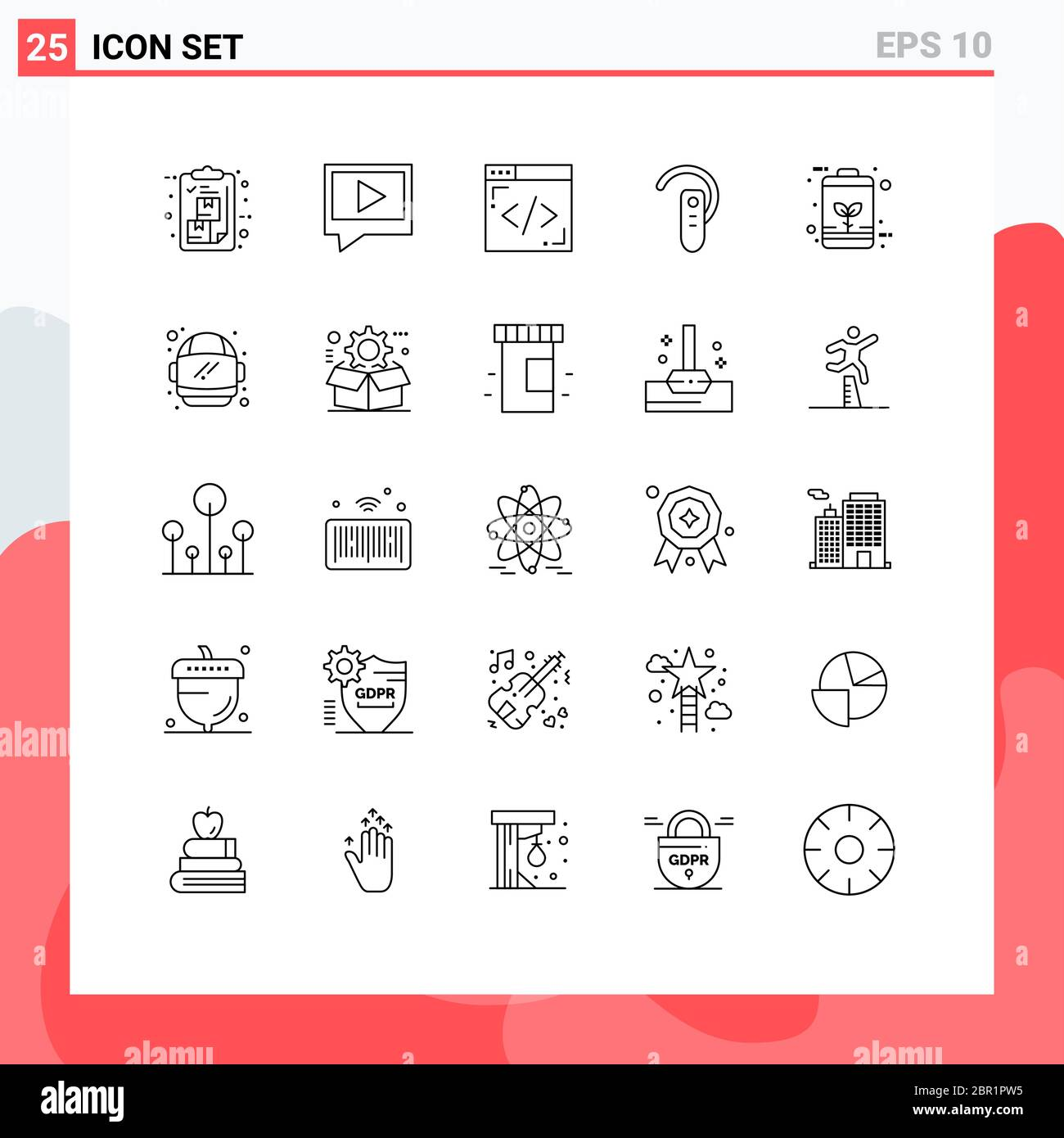 25 Thematic Vector Lines and Editable Symbols of eco, headset, coding, headphone, bluetooth Editable Vector Design Elements Stock Vector