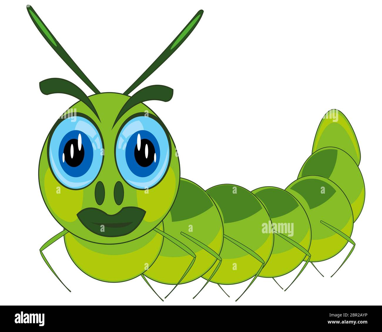 Cartoon Of The Green Caterpillar On White Background Is Insulated